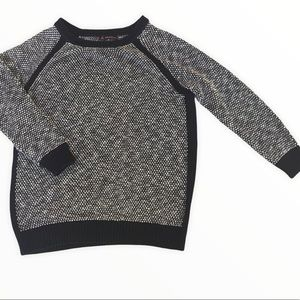 LOVE&LEGEND Black and White Crewneck Soft Sweater